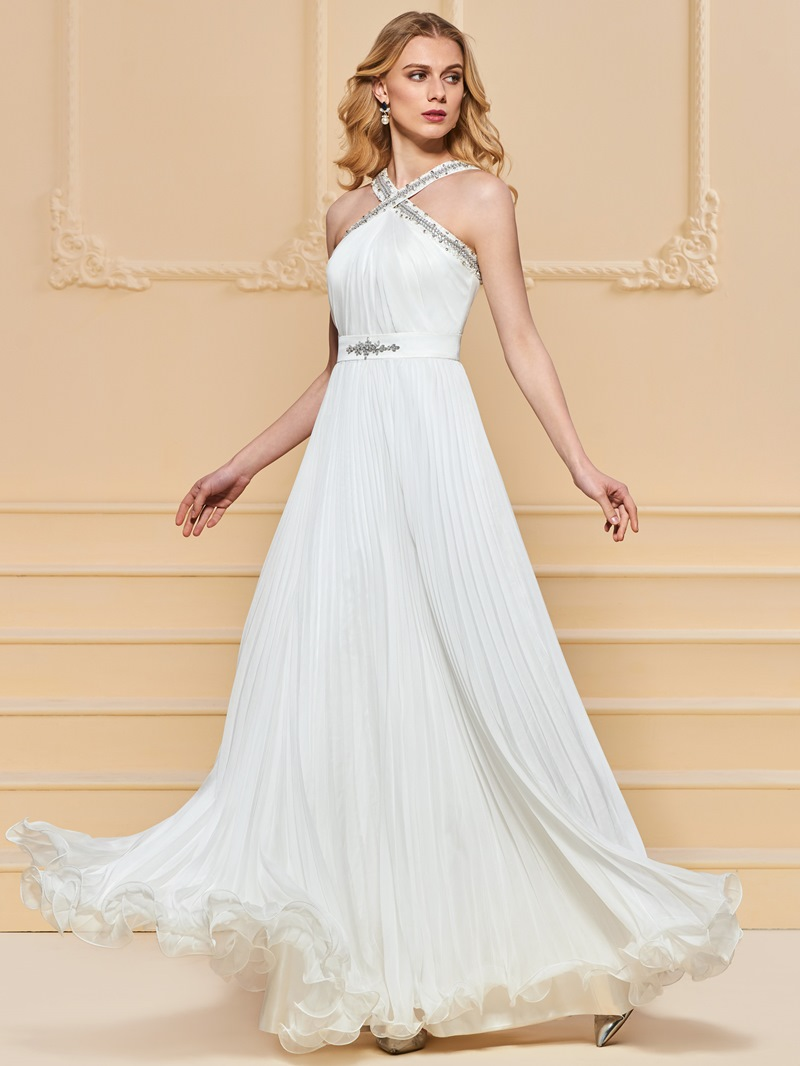 Ericdress A Line Beaded Halter Long Prom Dress