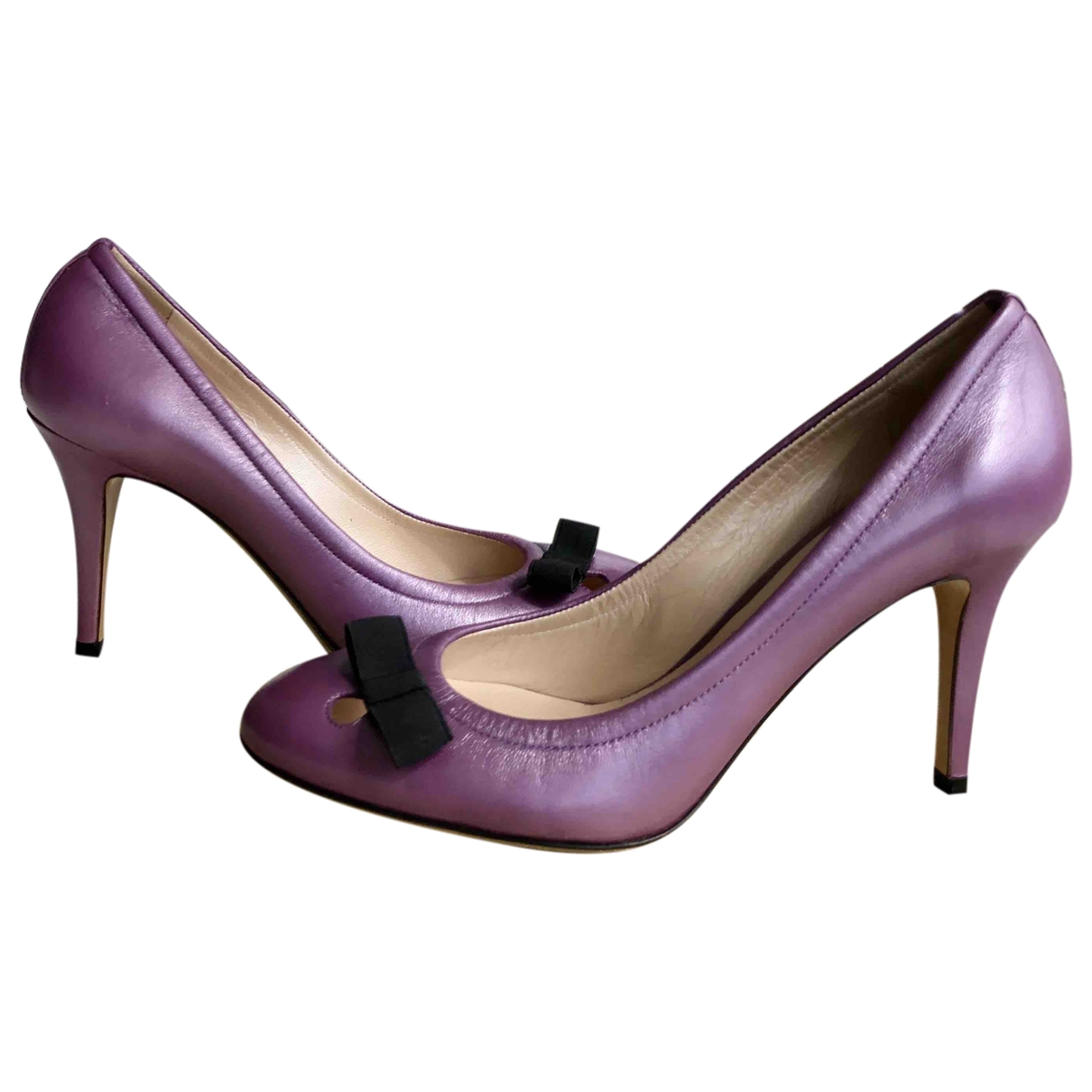 Casadei \N Purple Leather Heels for Women 36 EU