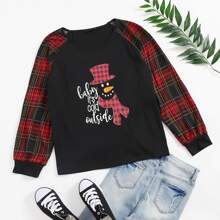 Plus Cartoon & Tartan Raglan Sleeve Tee