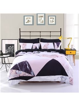 Triangle Marble Style Printing Polyester 4-Piece Bedding Sets/Duvet Cover