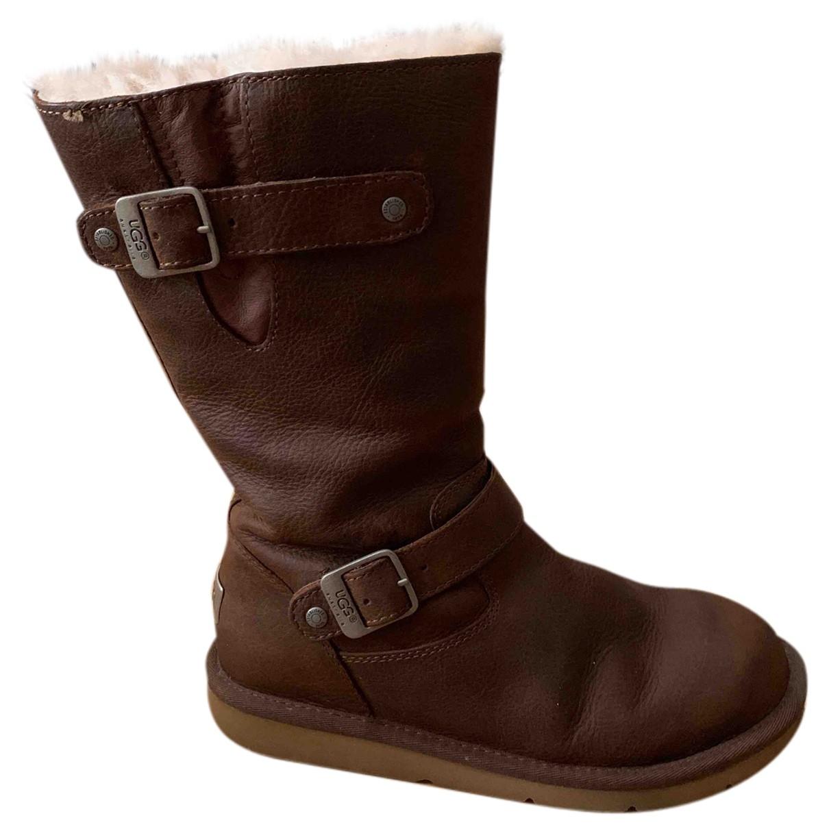 Ugg \N Stiefel in  Braun Leder