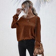 Drop Shoulder Sweatshirt mit Ausschnitt, Schleife hinten und Space Dye