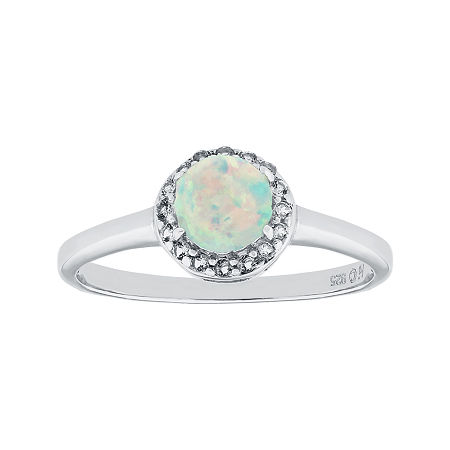 Faceted Lab-Created Opal & White Topaz Sterling Silver Ring, 5 , No Color Family