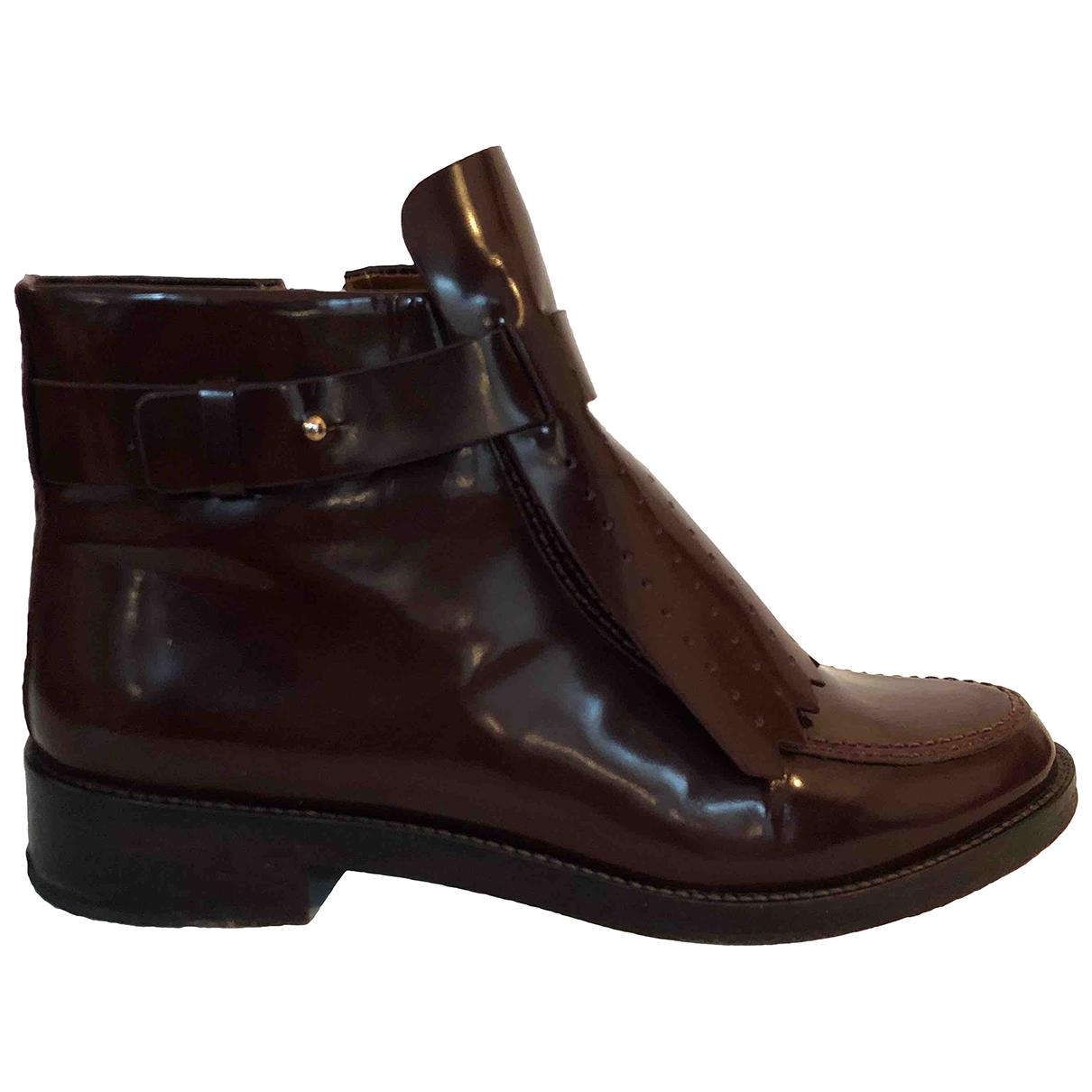 Tory Burch - Boots   pour femme en cuir - bordeaux