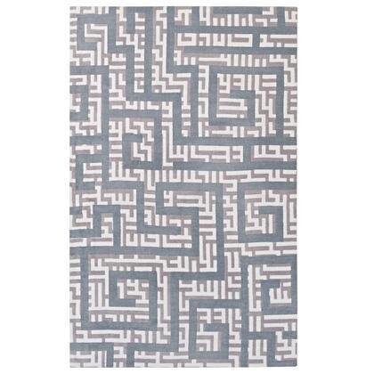 Nahia Collection R-1015B-810 Geometric Maze 8x10 Area Rug in Ivory  Light Grey and Sky Blue