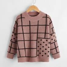 Toddler Boys Plaid Drop Shoulder Sweater