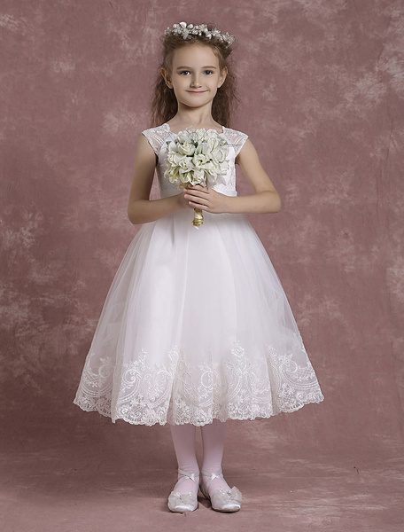 Milanoo Ivory Flower Girl Dresses A Line Tulle Pageant Dresses Toddler's Lace Tea Length Formal Dresses