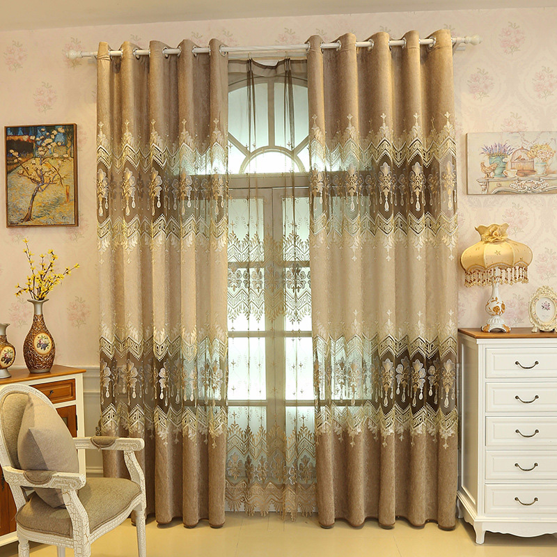 European Style Gold Floral Embroidery Living Room Curtain