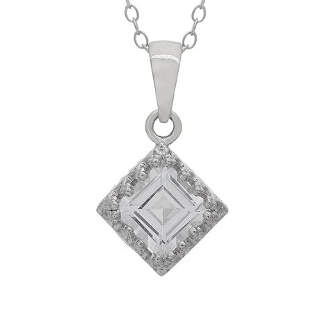 Womens Lab Created White Sapphire Sterling Silver Square Pendant Necklace, One Size , No Color Family