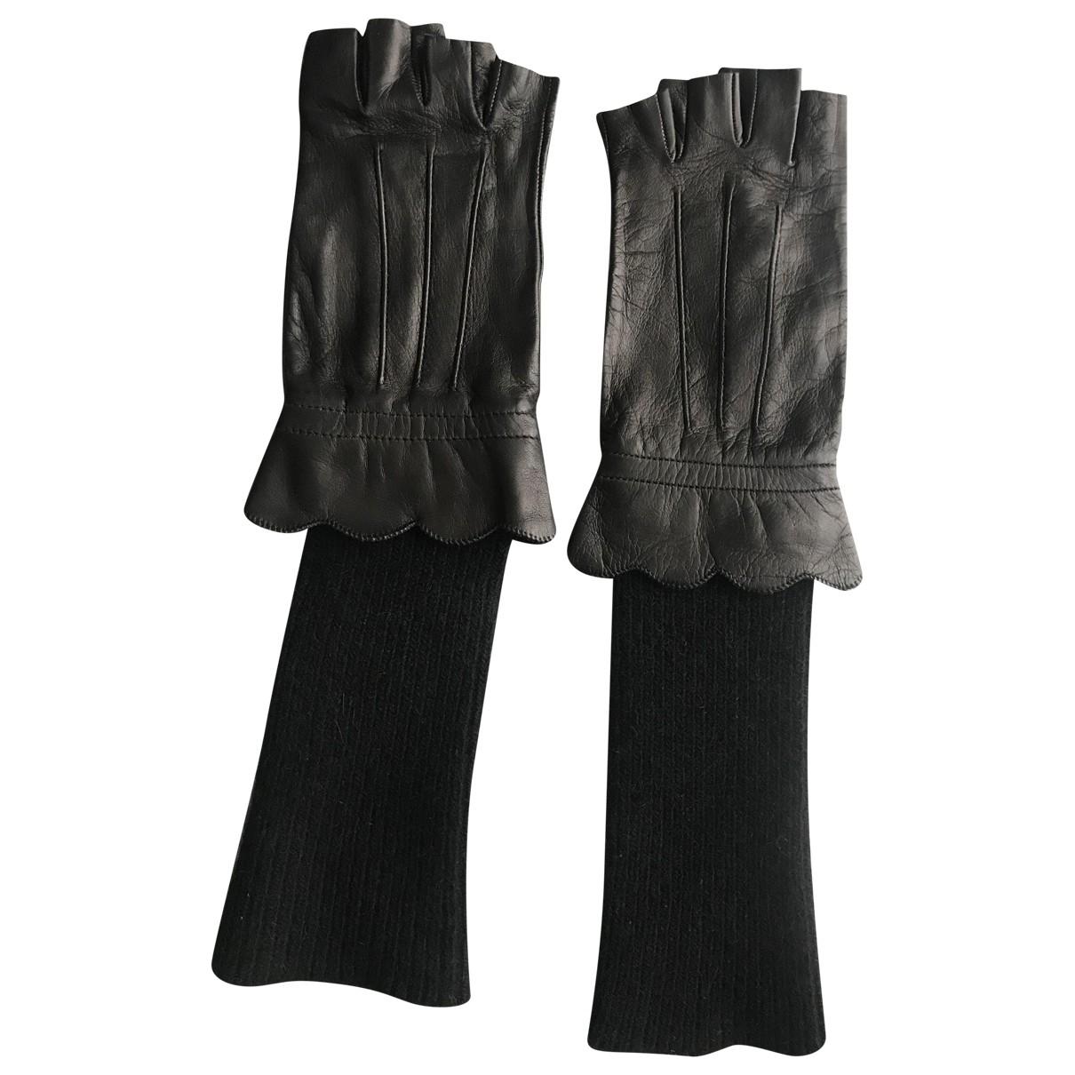 Moschino - Gants   pour femme en cuir - noir