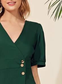 Button Front Layered Ruffle Hem Dress