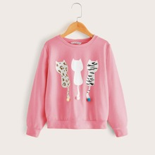 Girls Cat Print Pompom Detail Sweatshirt
