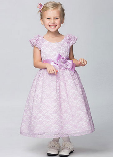 Milanoo Off-the-Shoulder Lace Flower Girl Dress