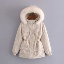Solid Popper Button Hooded Parka Coat
