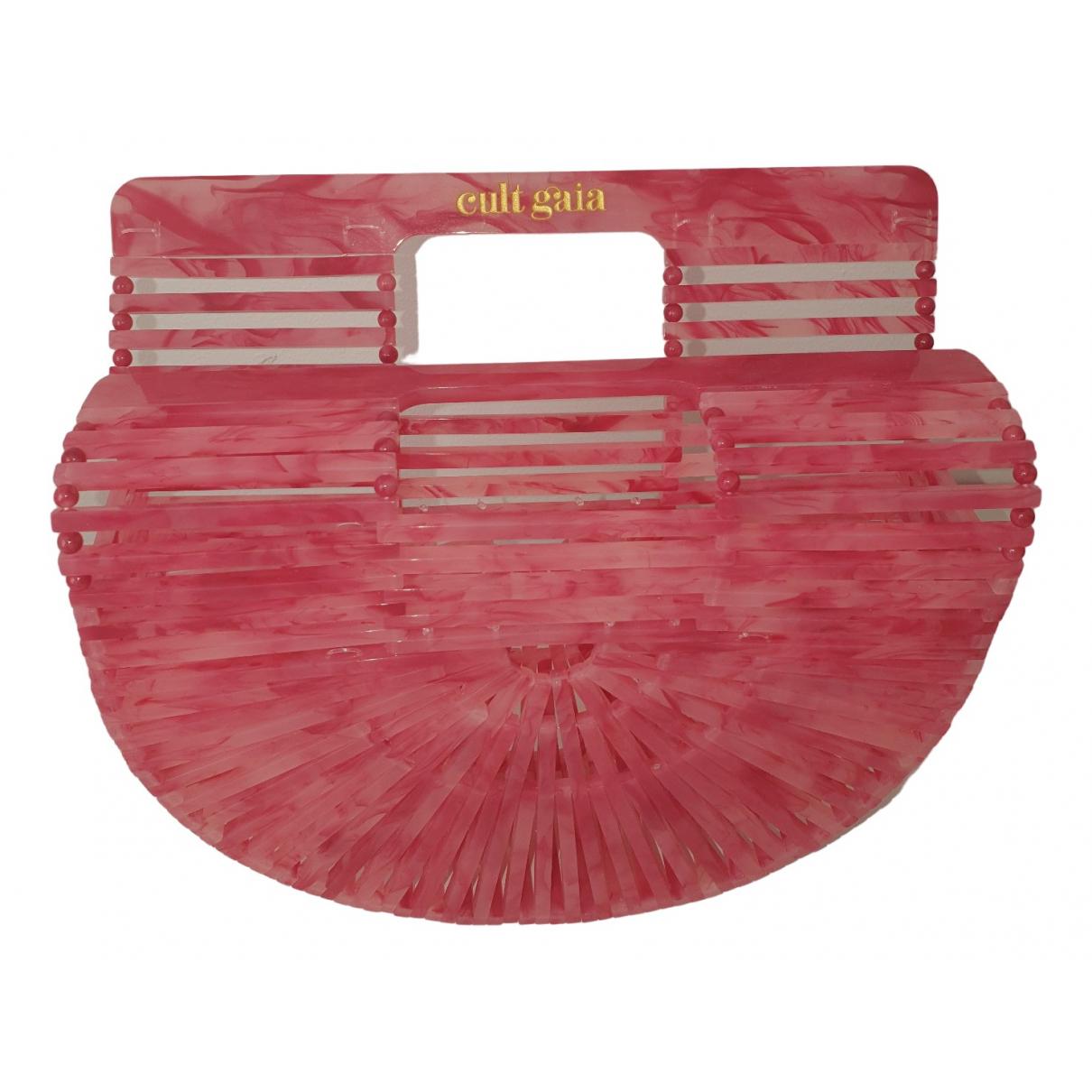 Cult Gaia Acrylic Ark Clutch in  Rosa Kunststoff