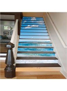 Blue Sea and Sky 3D Waterproof DIY Stair Murals