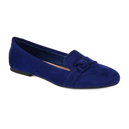 Journee Collection Womens Marci Slip-on Round Toe Loafers, 7 1/2 Medium, Blue
