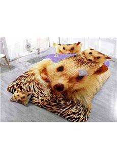 Golden Hedgehog Wear-resistant Breathable High Quality 60s Cotton 4-Piece 3D Bedding Sets