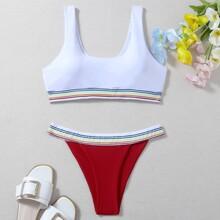 Striped Trim Thong Bikini Swimsuit