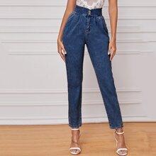 Marineblau  Einfarbig Laessig Jeans