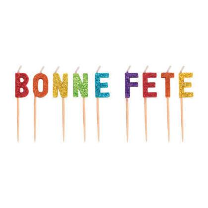Rainbow Glitter ''Bonne Fête'' Pick Candles