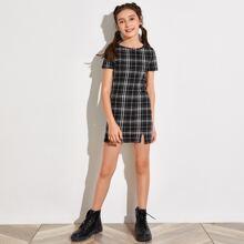 Girls Split Hem Plaid Dress