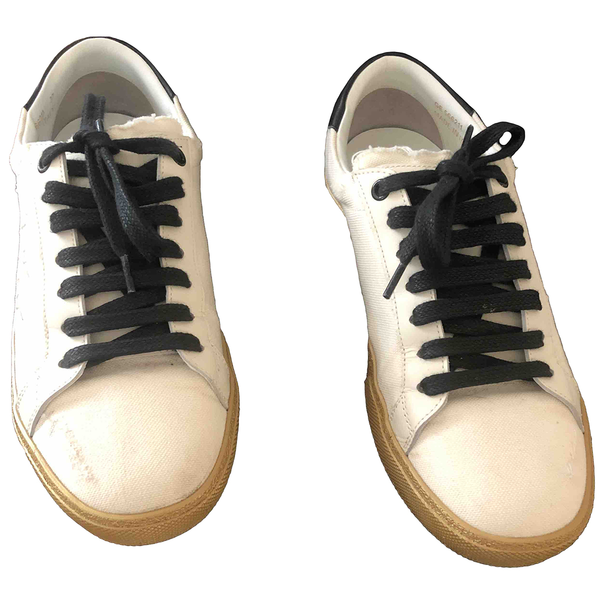 Saint Laurent Court Sneakers in  Ecru Leinen