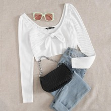 Plus Knotted Front Cutout Crop Tee