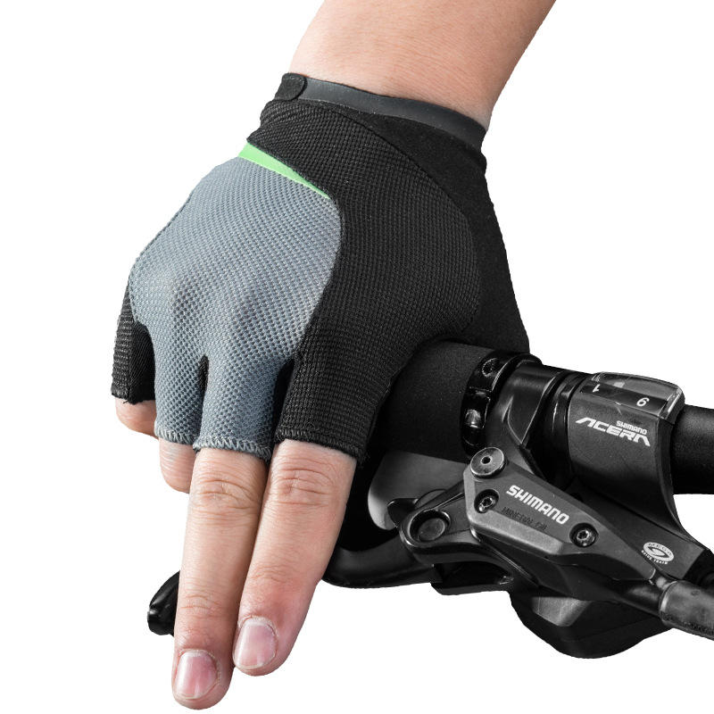 ROCKBROS S159BGR Half Finger Bike Gloves Dry Breathable Magic Cloth Wipe Sweat Cycling Bicycle Gloves