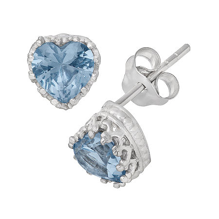 Lab-Created Aquamarine Sterling Silver Earrings, One Size , No Color Family