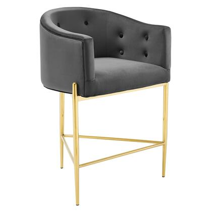 Savour Collection EEI-3910-CHA Counter-Height Bar Stool with Gold Tubular Stainless Steel Base  Dense Foam Padding and Stain-Resistant Velvet Fabric