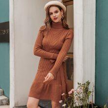 Turtleneck Belted Ruffle Hem Sweater Dress