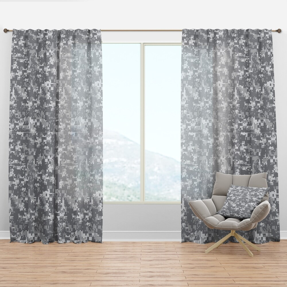 Designart 'Grey Pixelation' Modern & Contemporary Curtain Panel (50 in. wide x 84 in. high - 1 Panel)