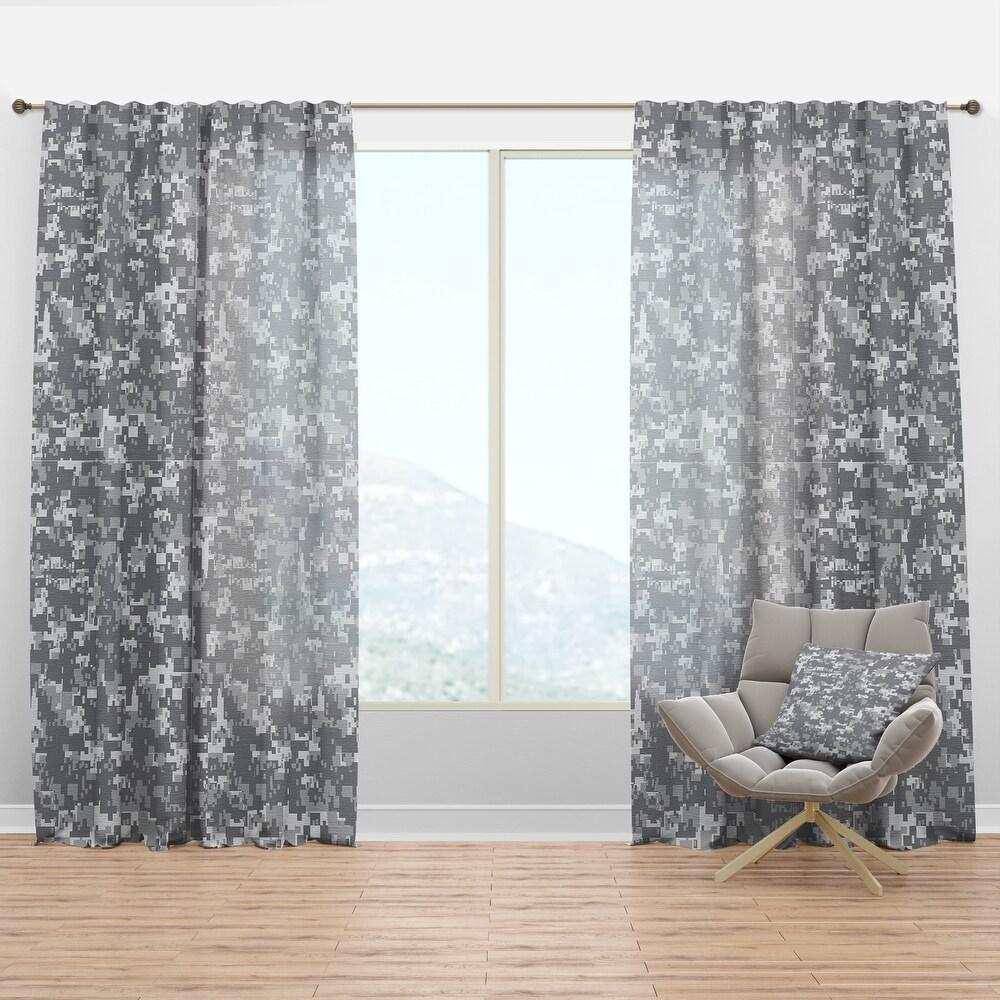 Designart 'Grey Pixelation' Modern & Contemporary Curtain Panel (50 in. wide x 63 in. high - 1 Panel)
