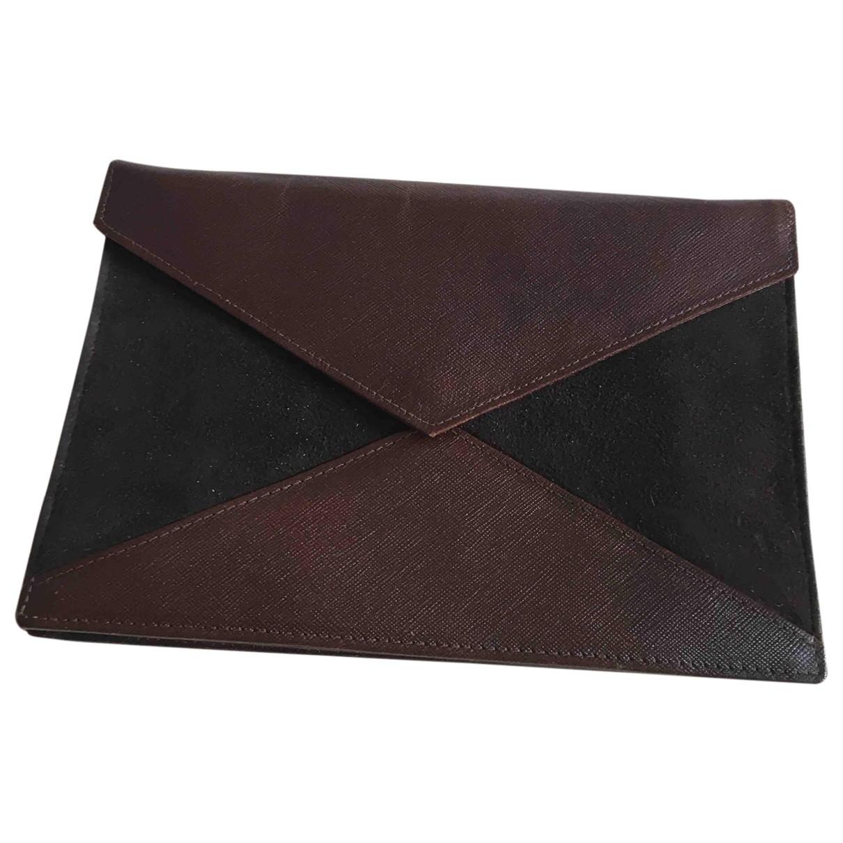Dior \N Clutch in  Braun Leder