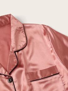 Contrast Binding Pocket Front Satin PJ Set