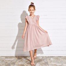 Maedchen Kleid mit Guipure Spitzen, mehrschichtigem Raffungsaum und Punkten Muster