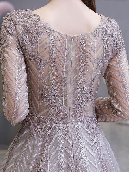 Milanoo Evening Dress Princess Silhouette V Neck Long Sleeve Lace Sequins Floor Length Social Party Dresses