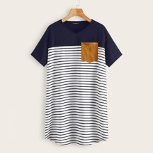 Suede Pocket Patched Striped Tee Dress