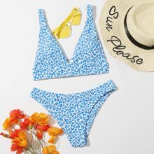 Leopard V Neck Bikini Swimsuit