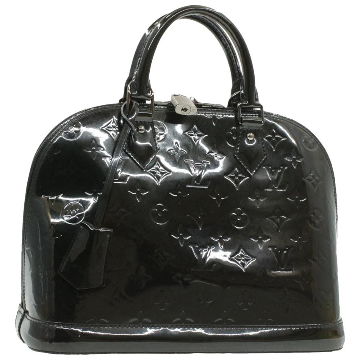 Louis Vuitton - Sac a main Alma pour femme en cuir verni - noir