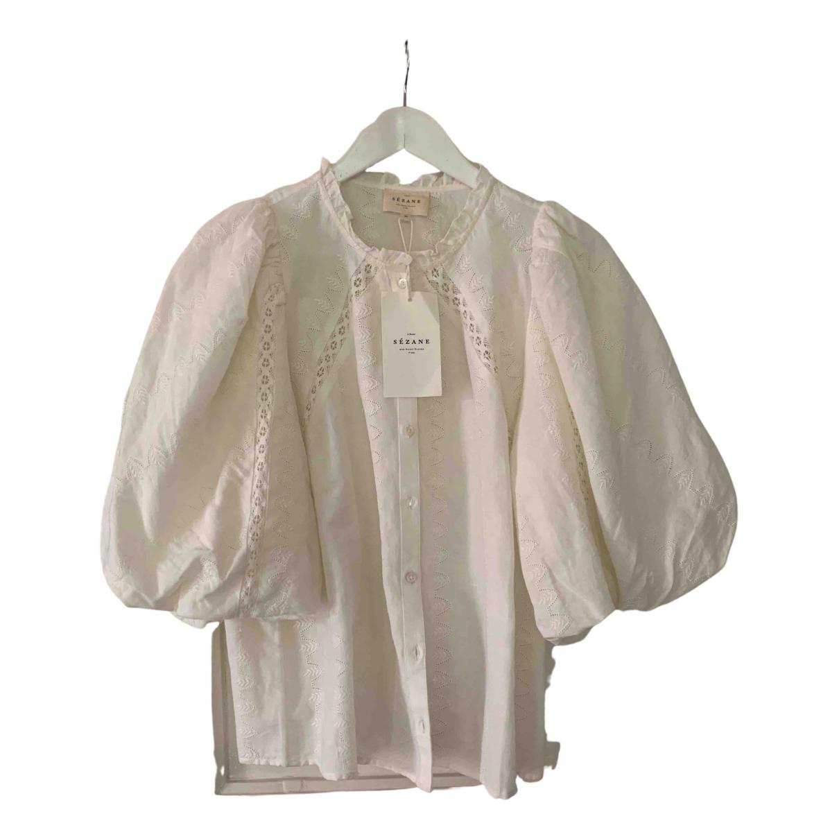 Sézane Spring Summer 2020 Ecru Cotton  top for Women 38 FR