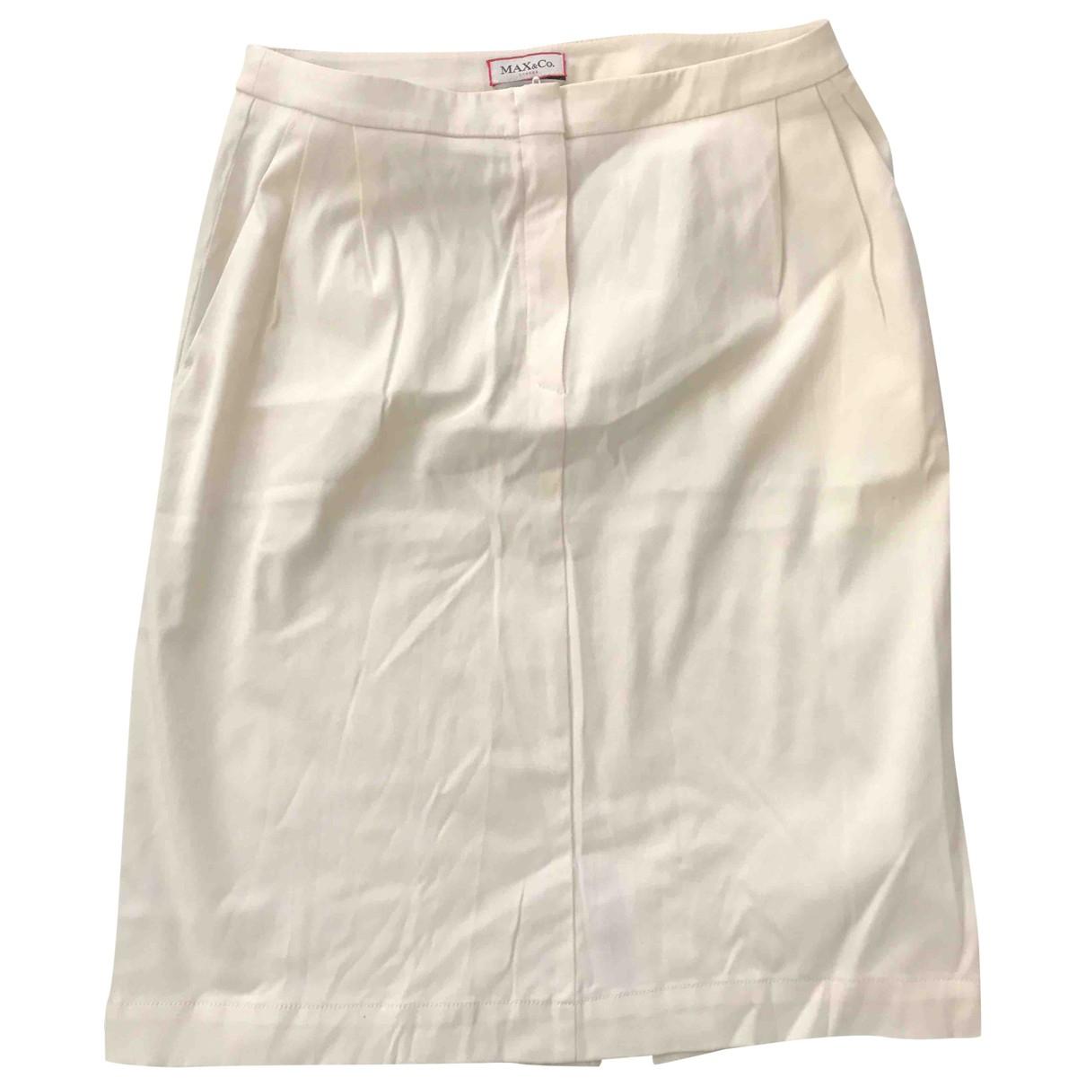Max & Co - Jupe   pour femme en coton - elasthane - blanc