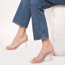 Flared Acrylic Heel Multi Crystal Strap Sandals