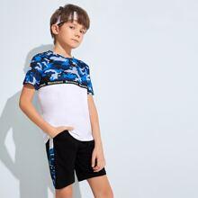 Vielfarbig Taschen  Buchstaben  Sportlich  Jungen Zweiteilige Outfits