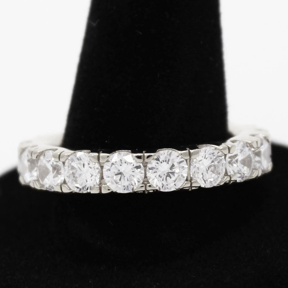 .925 Silver Eternity Band CZ Hip Hop Bling Ring