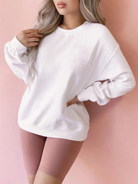 Milanoo Sweetshirt For Women White Long Sleeves Letters Print Cotton Blend Sweatshirt
