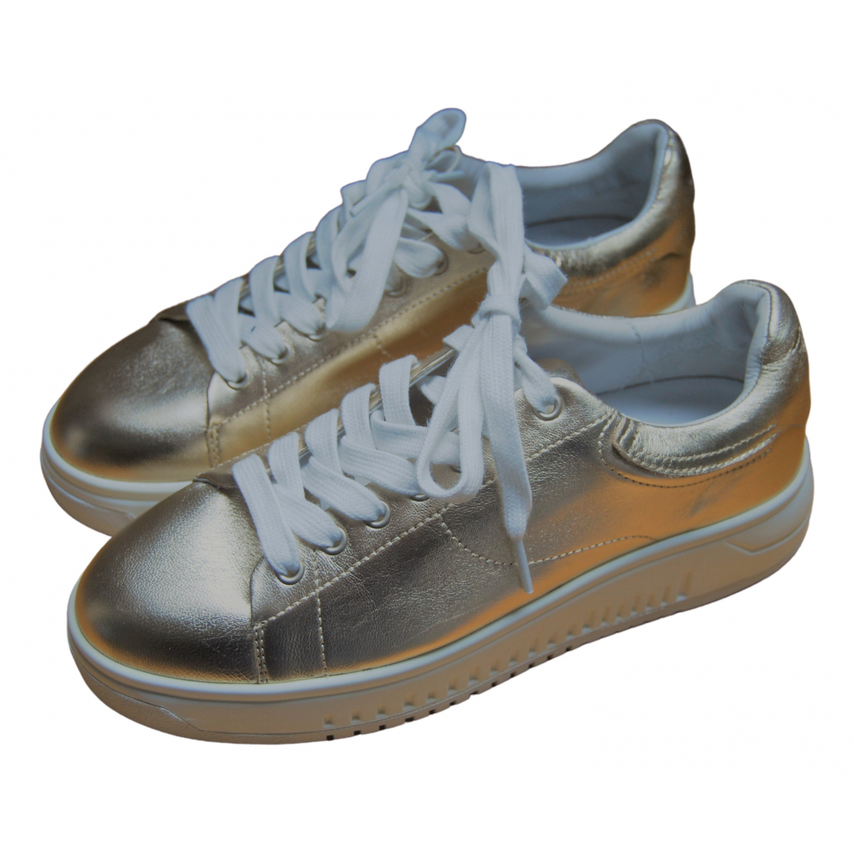 Emporio Armani \N Gold Leather Trainers for Women 37 EU