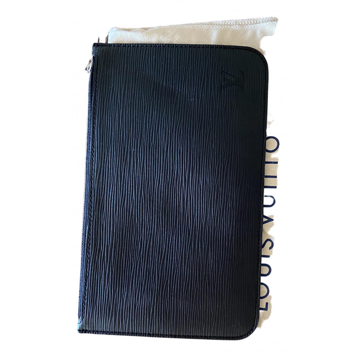 Louis Vuitton - Pochette Neverfull pour femme en cuir - noir