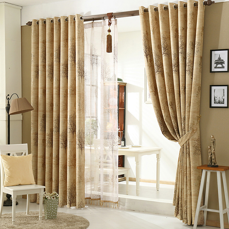 European Style Beige Custom Sheer Curtains with Delicate Pendants for Living Room and Bedroom